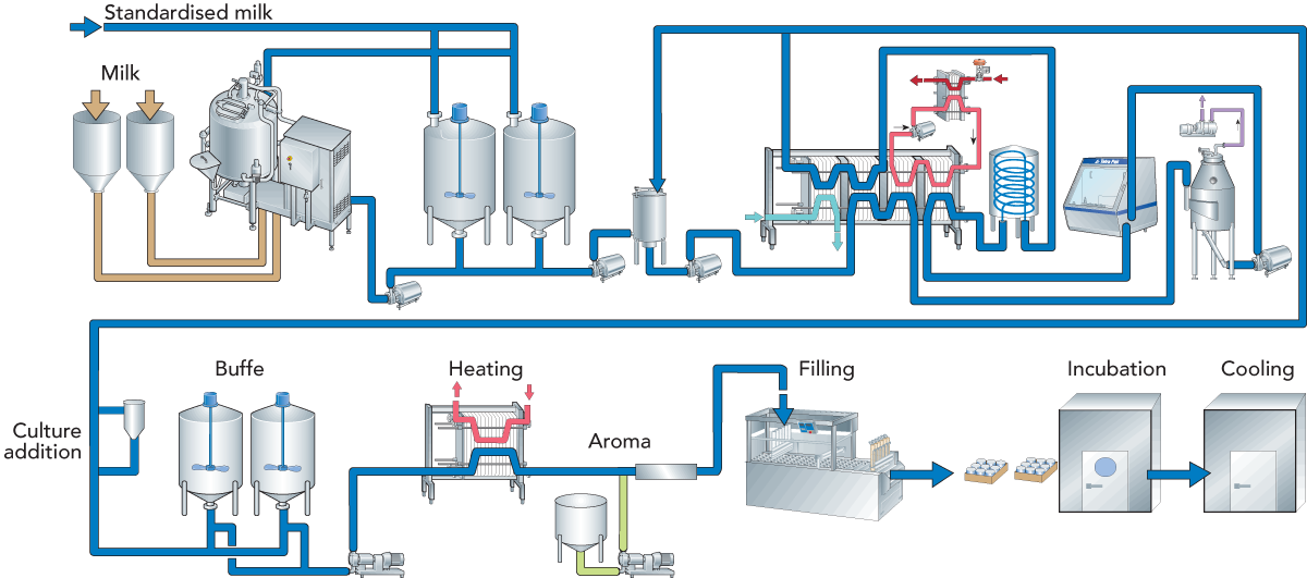 fermented milk products dairy processing handbook rh dairyprocessinghandbook com Milk Pasteurization Process Diagram Milk Pasteurization Process Diagram
